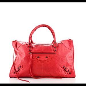 Balenciaga work classic studs bag red  leather